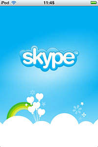 iPod Touch用Skypeの起動画面